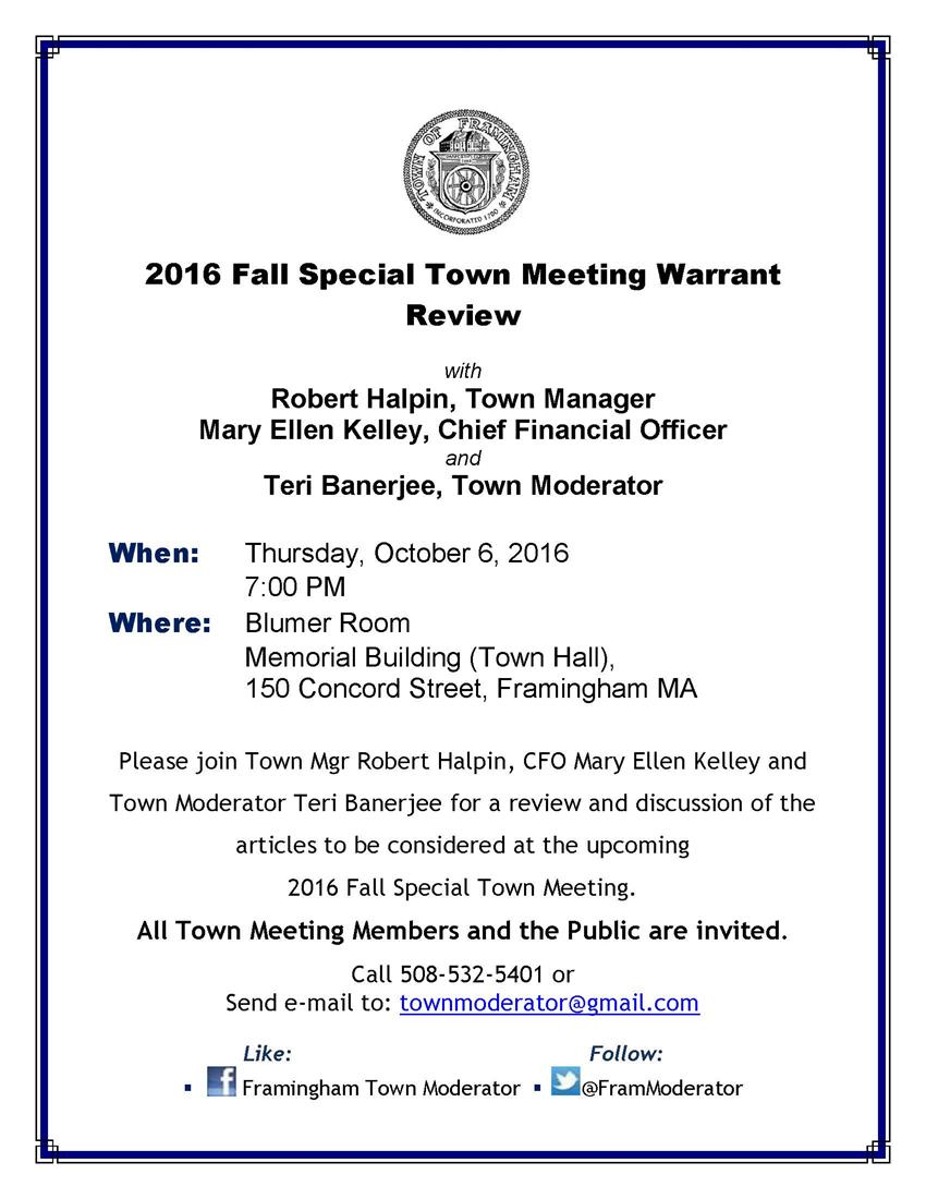 2016-09-25 TM Warrant Review 2016-10-06 flyer