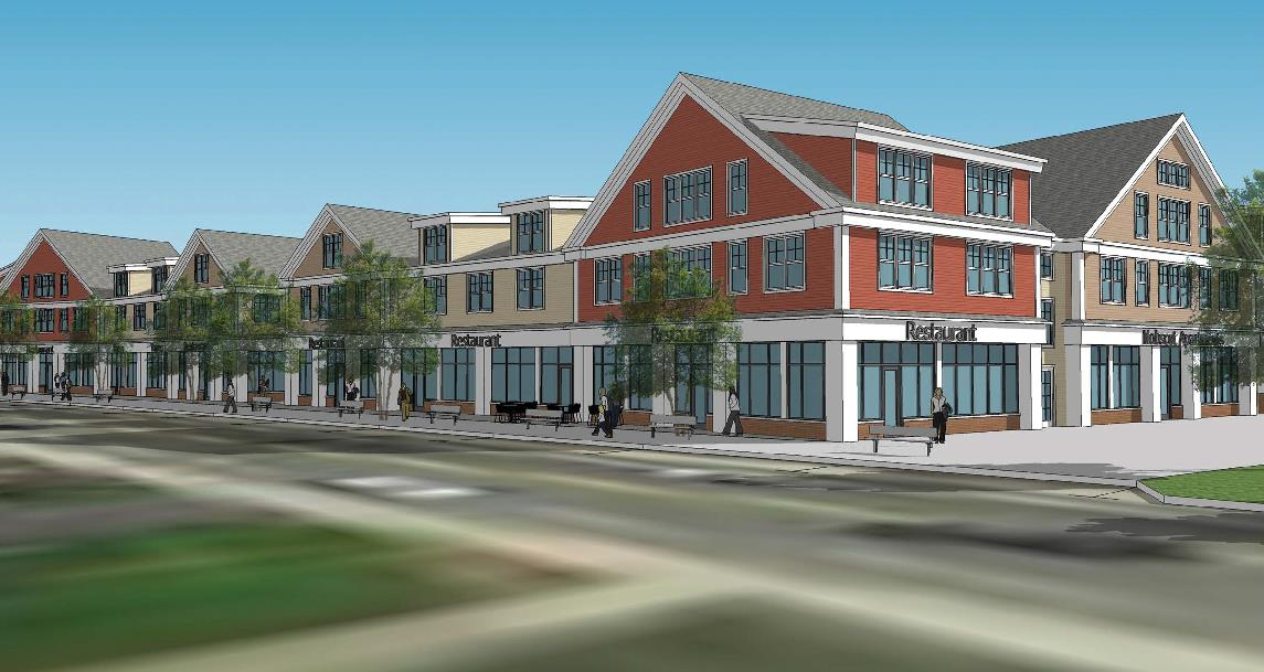 Rendering of proposed shops with upper story apartments along Water Street (Cube 3 Studio)