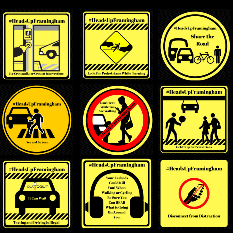 Heads UP Framingham WARNING Signs