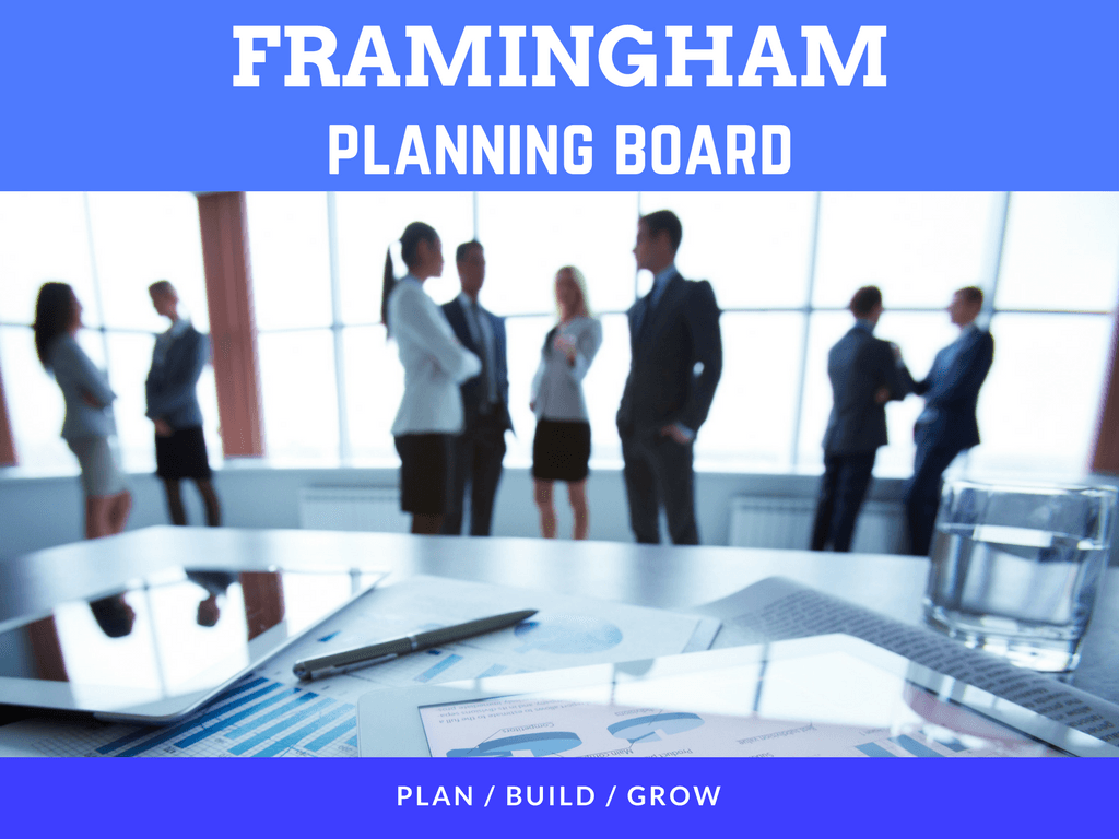 Image of the Framingham Planning Board Plan Build Grow logo showing people working together to devel
