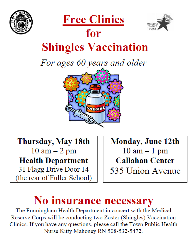 image of flyer showing information for the free clinics for shingles vaccination