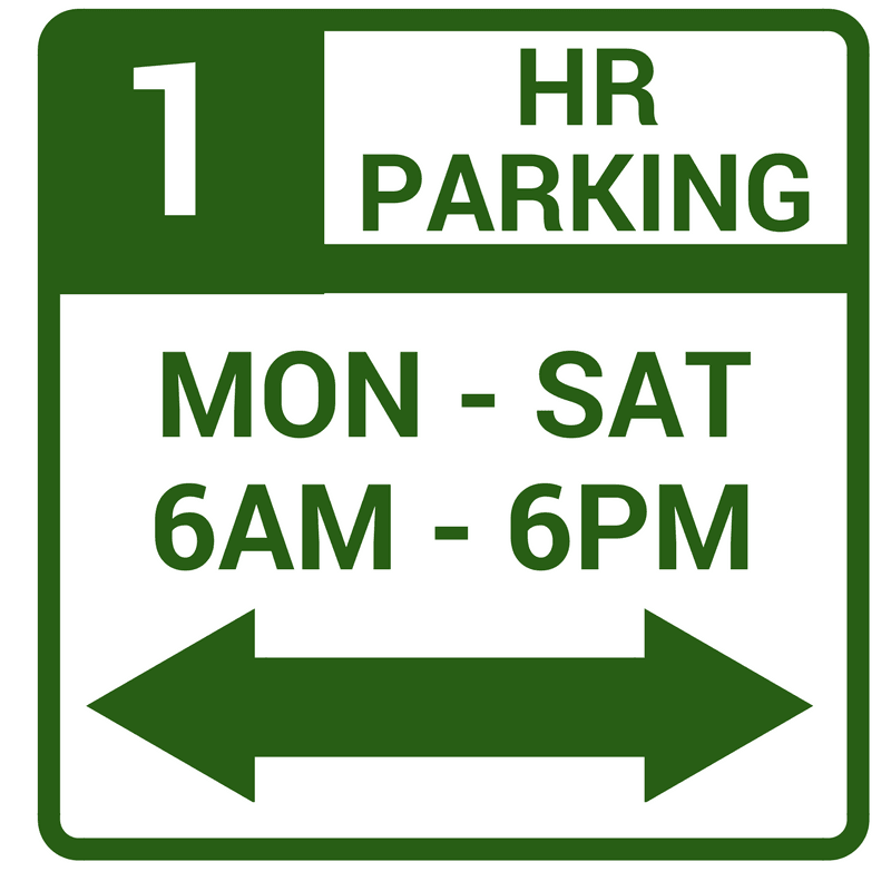 Image of Green and White 1 Hour Parking Sign