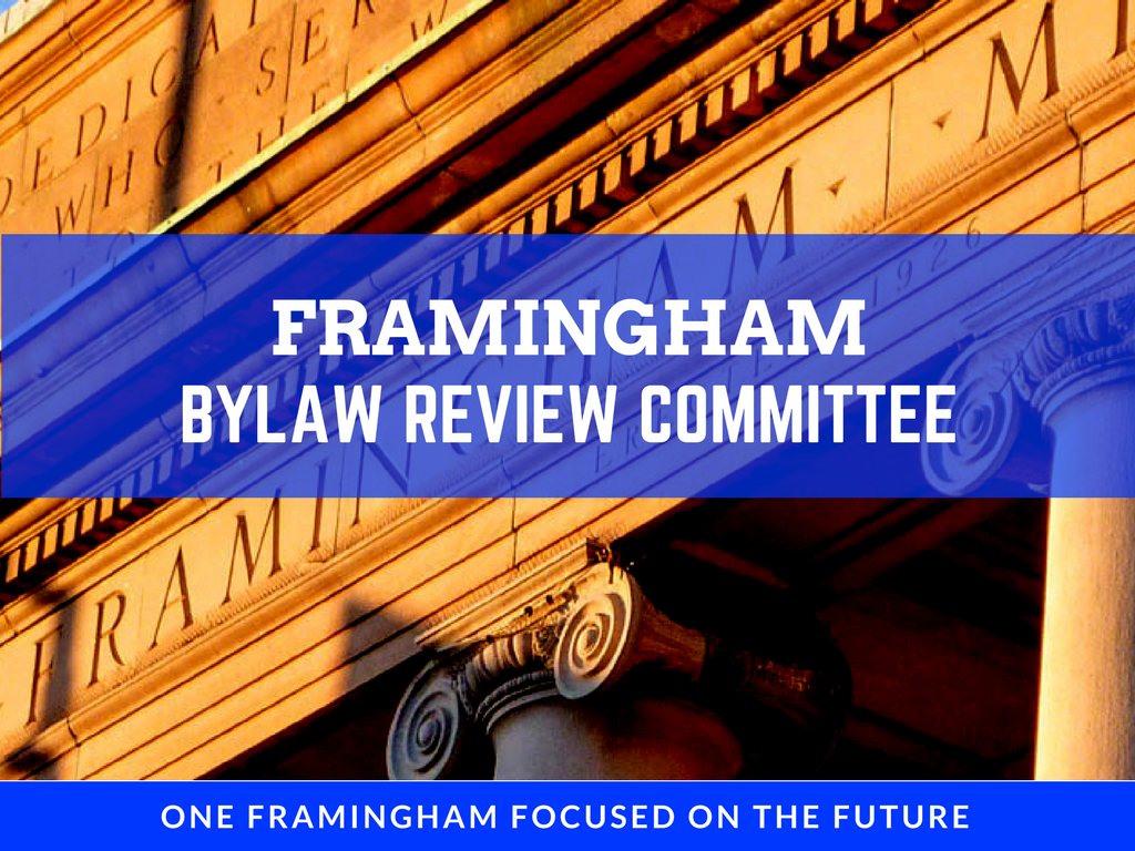 Image of Bylaw Review Committee Logo with Memorial Building Background and the text Framingham Bylaw