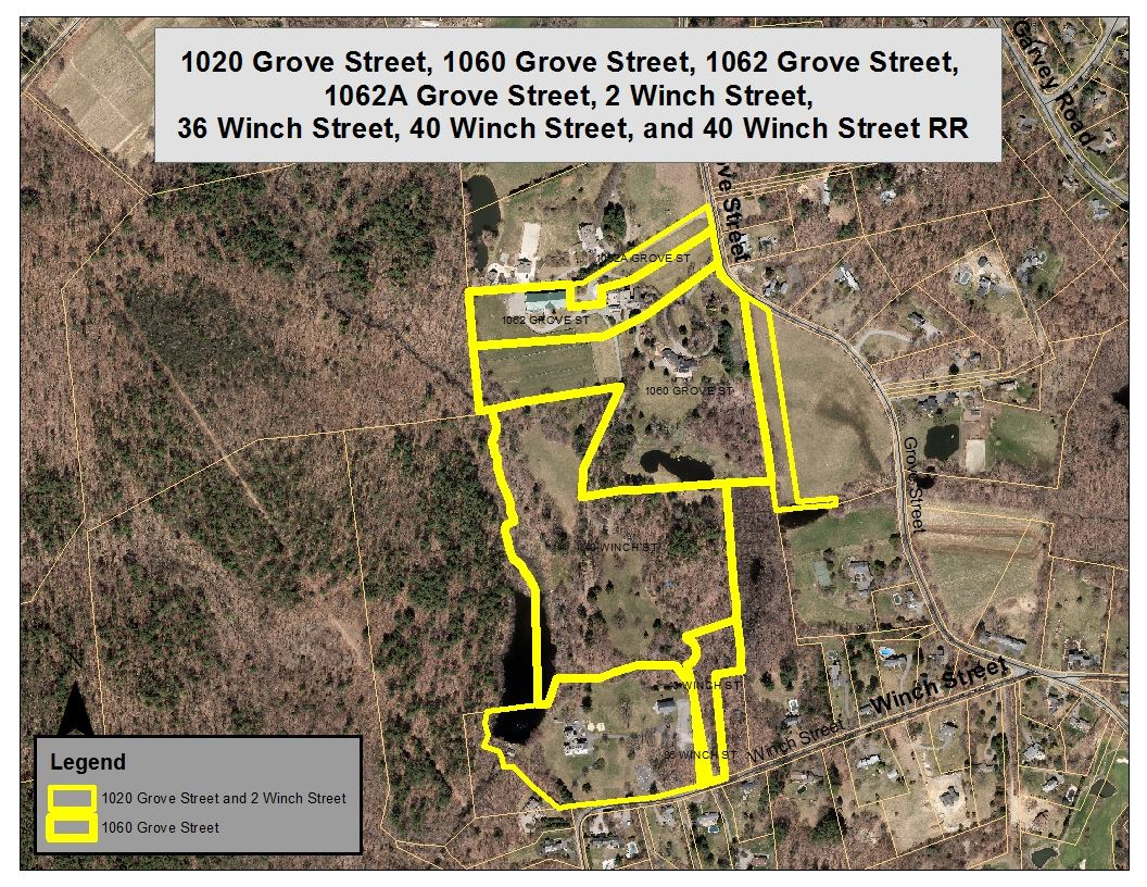 Aerial Map of 1060 Grove Street project area and the surrounding area. The property under review is
