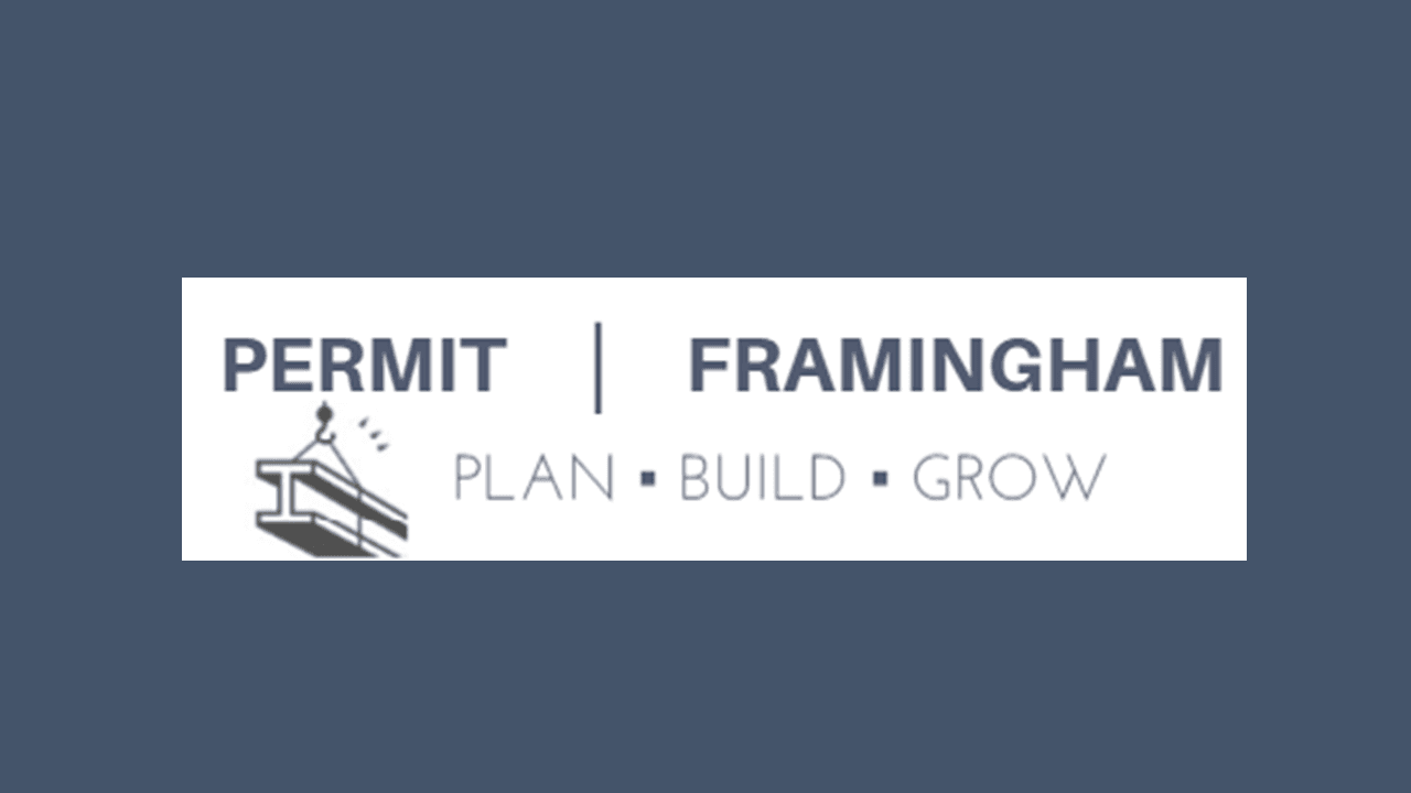 plan build grow logo: text show in navy blue and reads - Permit Framingham: Plan, Build Grow - to th