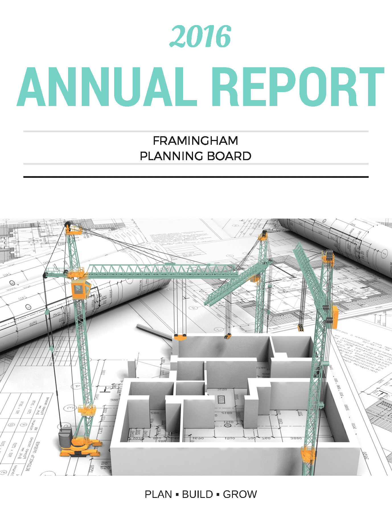 "Image of the 2016 Annual Report Cover: the top 1/3 written in teal writing reads ""2016 Annual Rep"