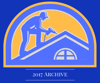 Image of a logo of a man working on a roof. The Image is shown in the colors of royal blue, yellow/o