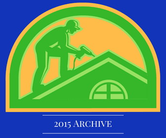"Image of a cartoon man working on a roof, text reads, ""2015 Archive."""