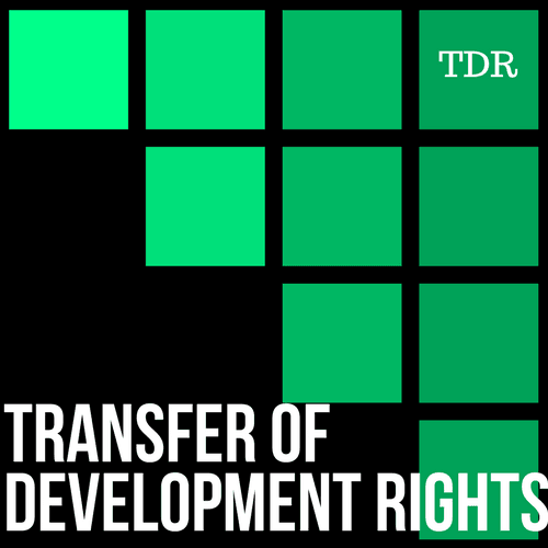 Transfer of Development Rights Logo - black background with a series of bright green square blocks t