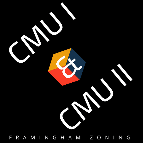 CMU I &  CMU II Logo - image with black background, a cube that is shown in blue, red, and yellow. T
