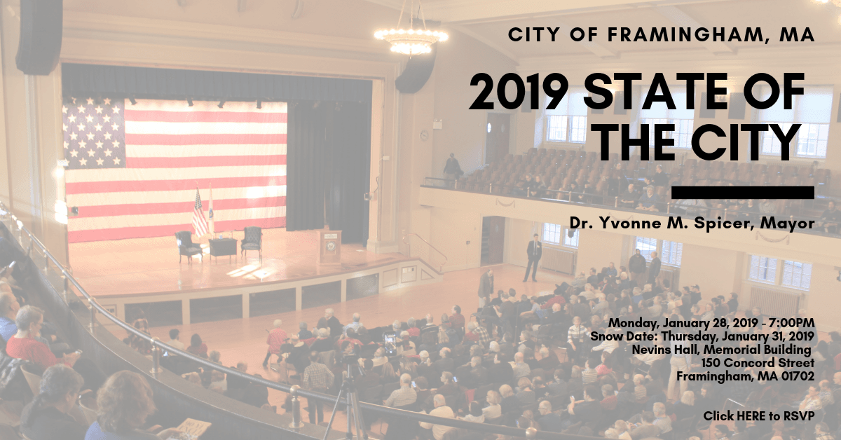 2019 State of the City Graphic - January 28, 2019 at 7:00PM in Nevins Hall of the Memorial Building,