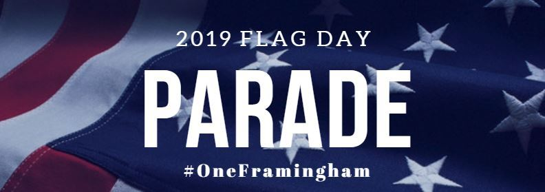 image showing the American flag and the following text: 2019 Flag Day PARADE #OneFramingham