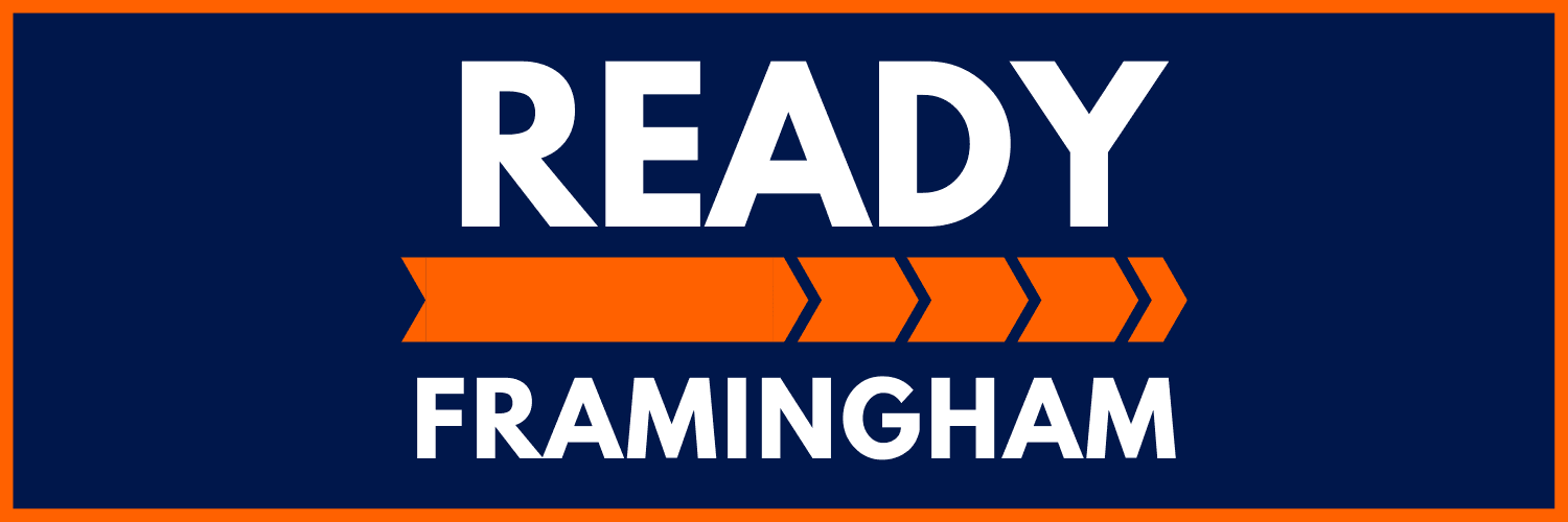 image showing the logo for the ready Framingham web-page displaying winter safety tips and summer sa