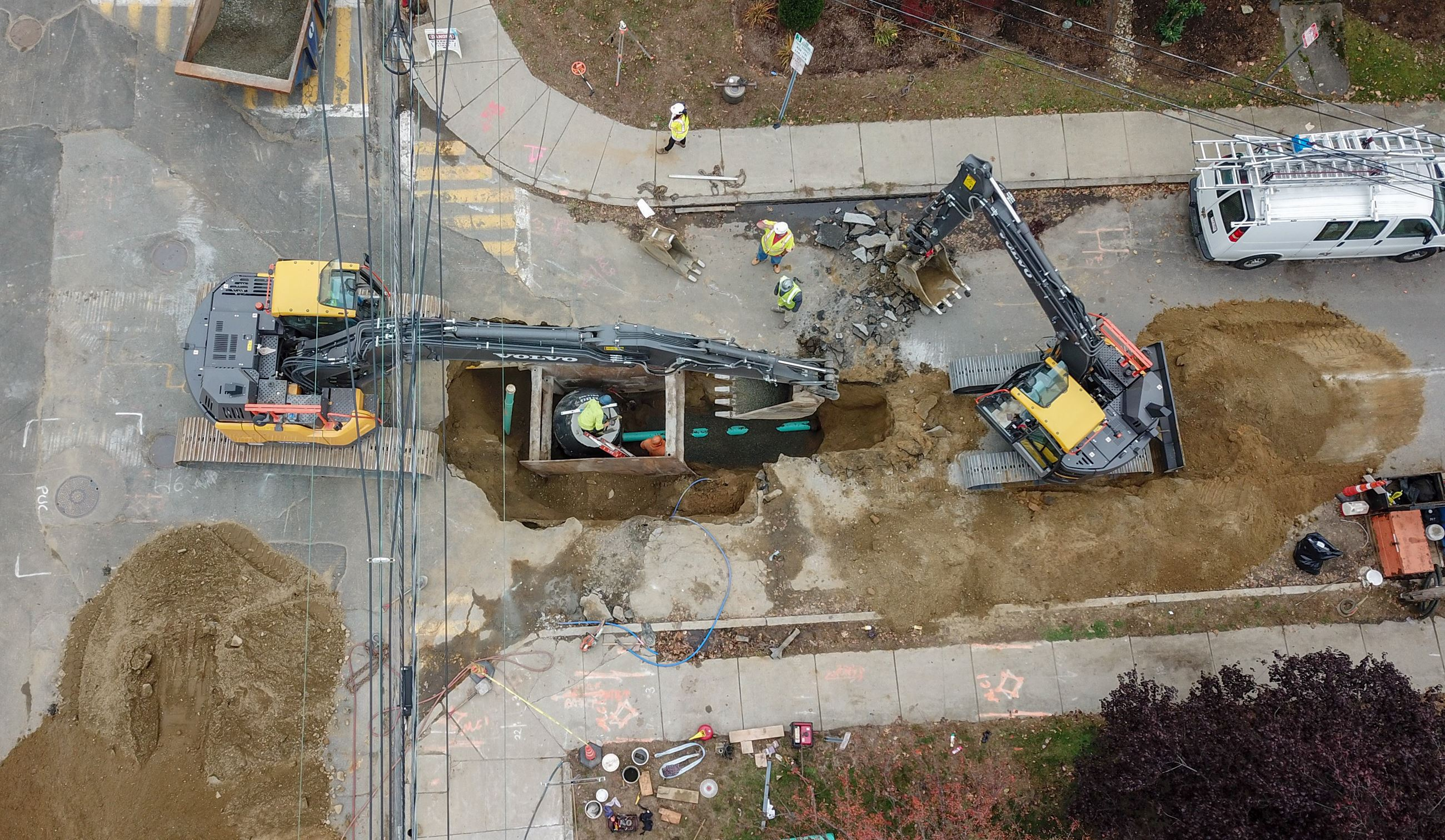 Drone Overview - Lexington St., Sewer install