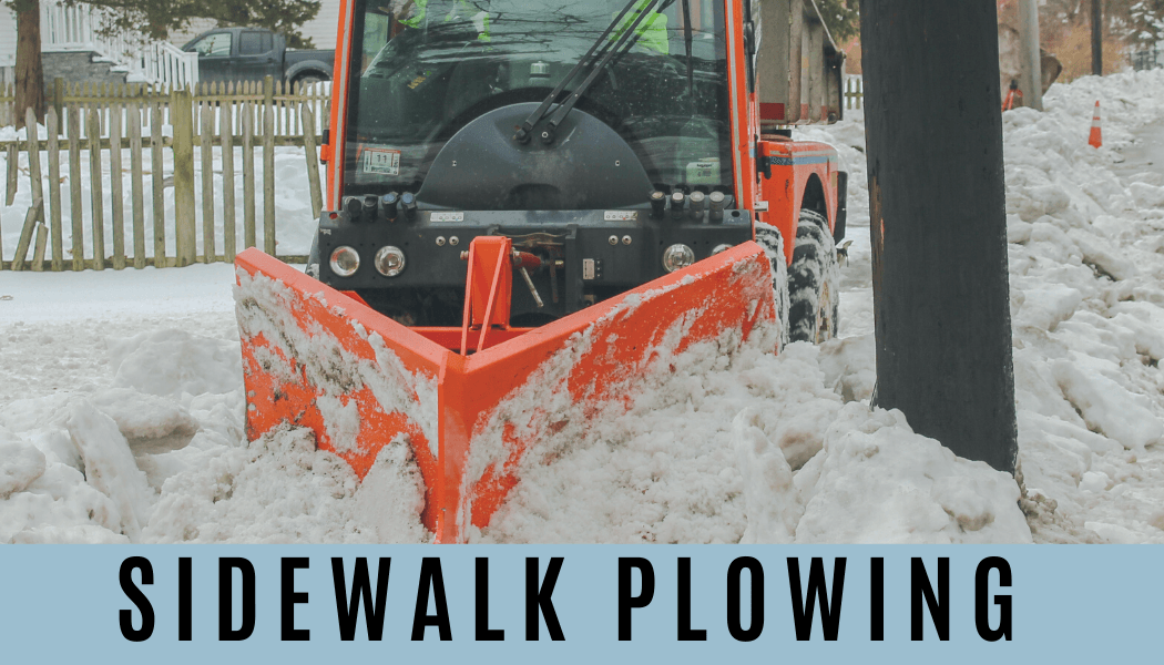 Picture of a sidewalk tractor plowing a sidewalk. Text: Sidewalk Plowing Information