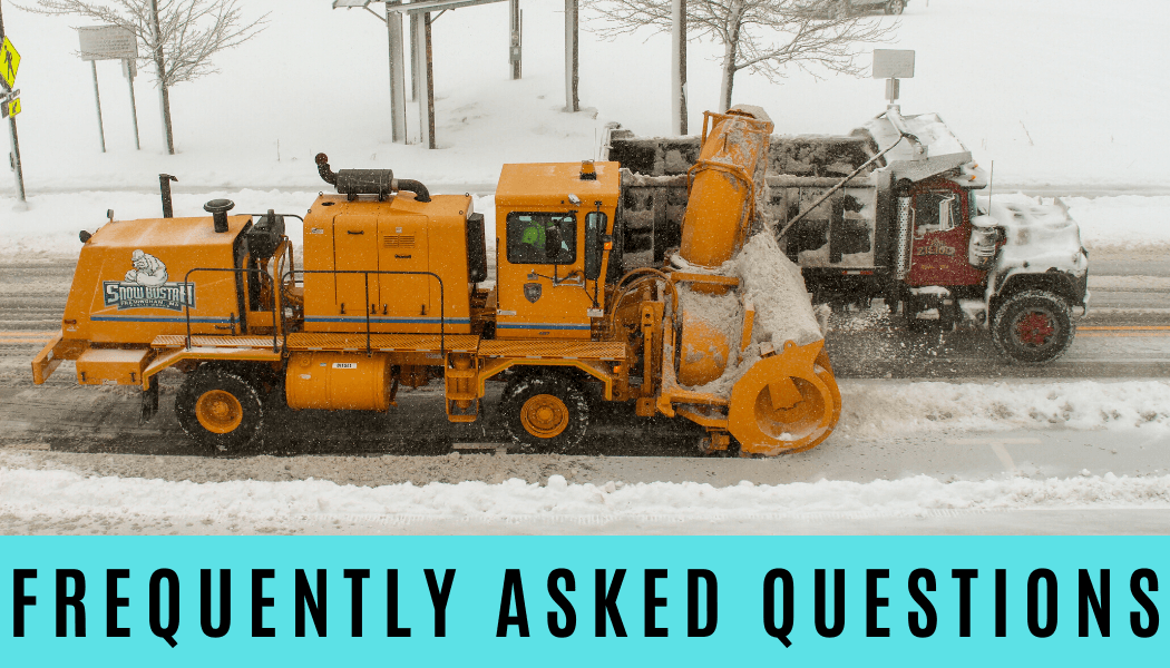 Picture of a big snow blower filling up a large truck. Text: Frequently Asked Questions
