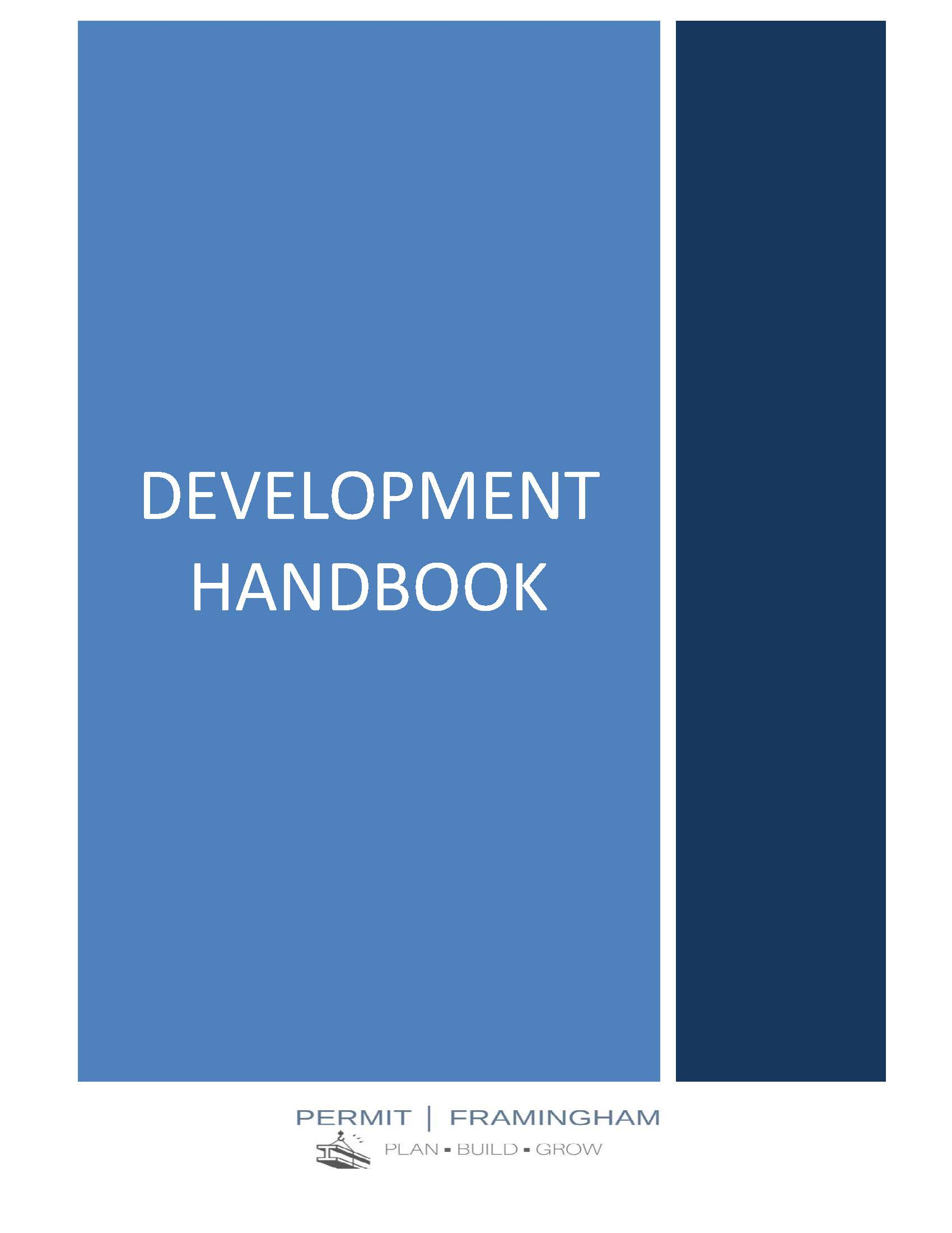 Cover of Plan-Build-Grow, which read Development Handbook