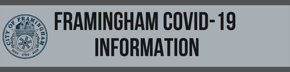 Banner with the City seal and the following text: Framingham COVID-19 Information