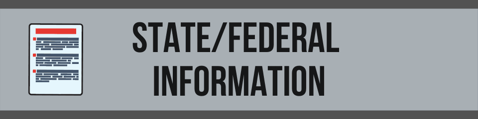 Banner with an information sheet picture and the following text: State/Federal Information