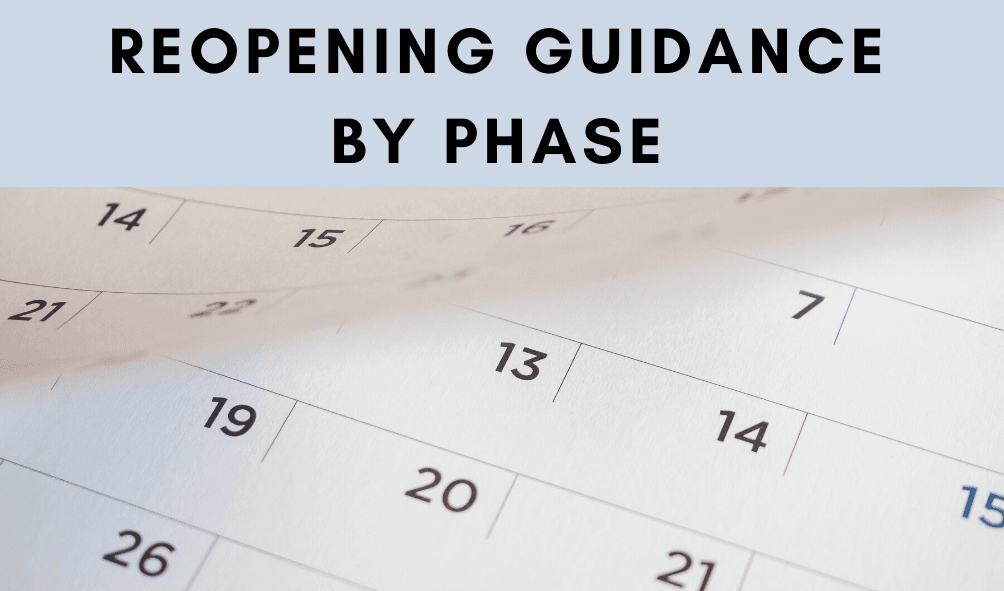 Text: Reopening Guidance by Phase, photo of a calendar