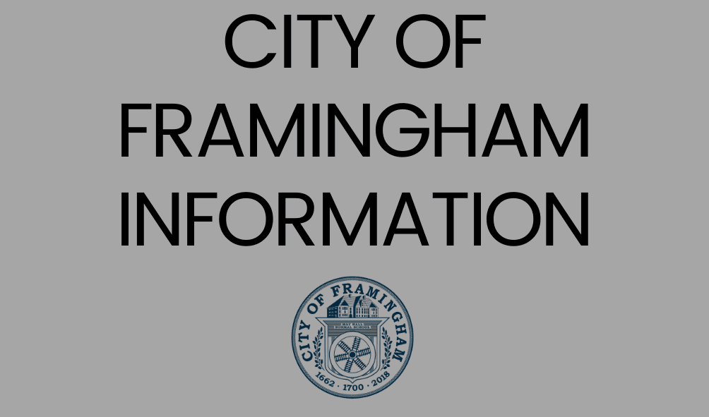 Text: City of Framingham Information, photo of the City Seal