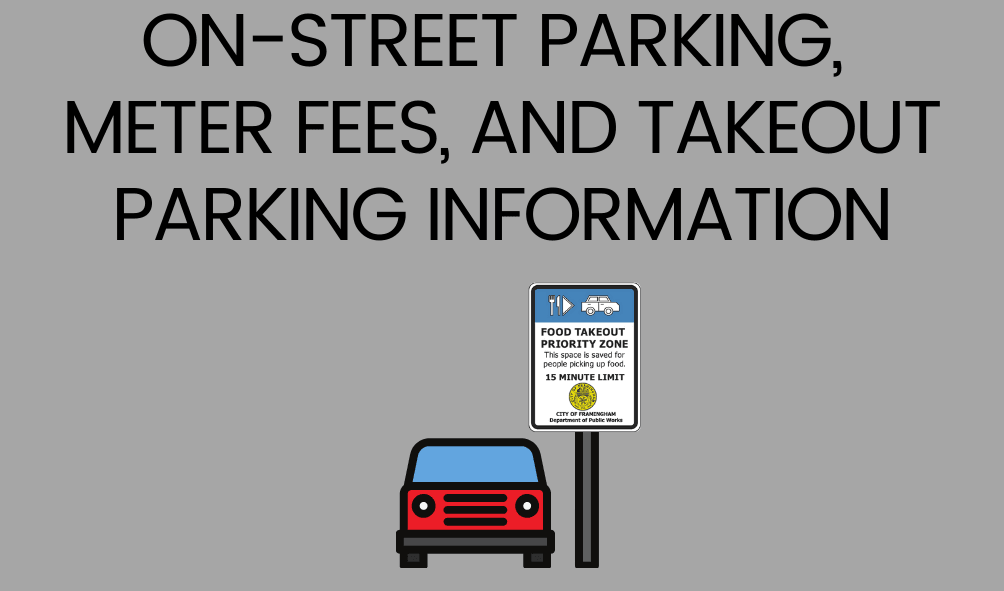 Text: On-street Parking, Meter Fees, and Takeout Parking Information, photo of a car with the City p
