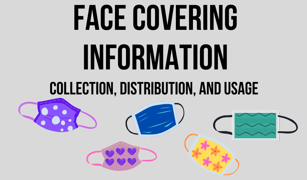 Photo of colorful face coverings and the following text: Face Covering Information, Collection, Dist