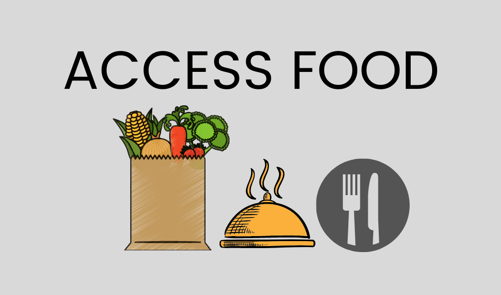 Text: Access Food, photo of vegetables and fruit in a bag, a hot meal, fork and knife