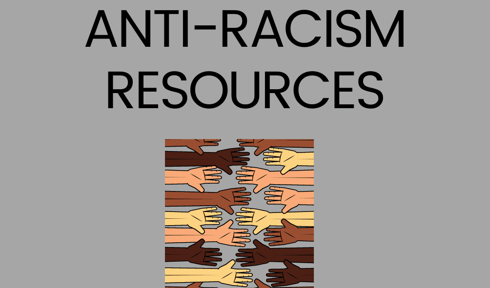 Text: Anti-racism Resources photo of peoples hands, showing multiethnic diversity