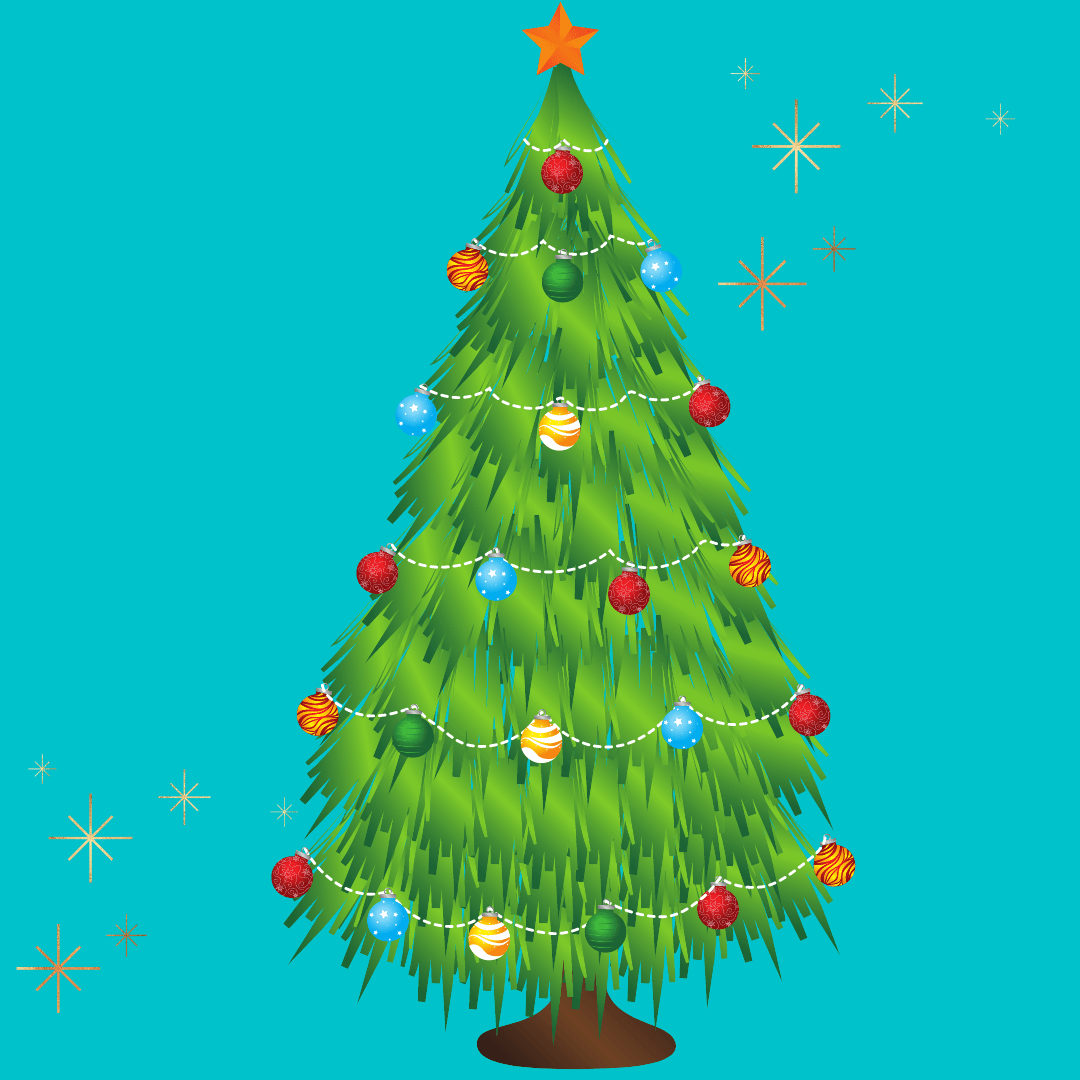 Image of a holiday tree that is decorated with lights and ornaments. The tree is twinkling.
