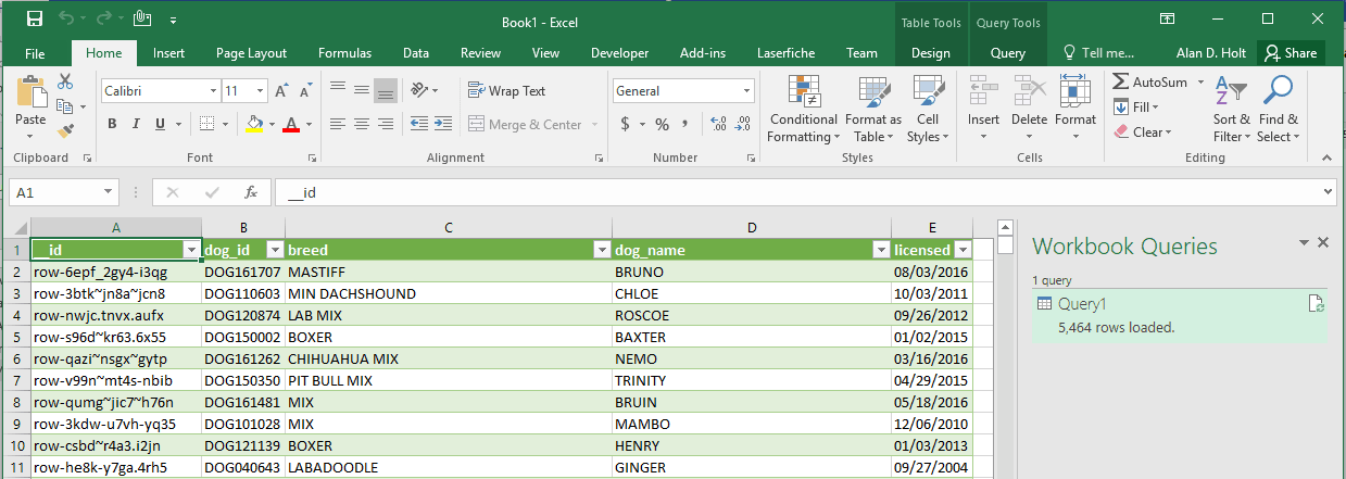 Spreadsheet with Open Data in cells