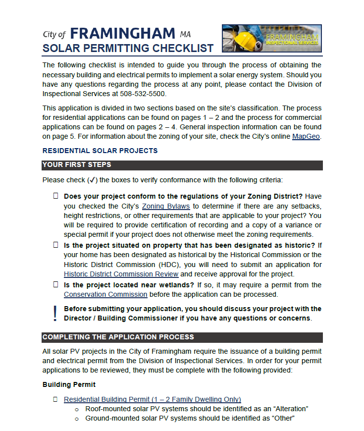 Excerpt of the Solar Permitting Guide