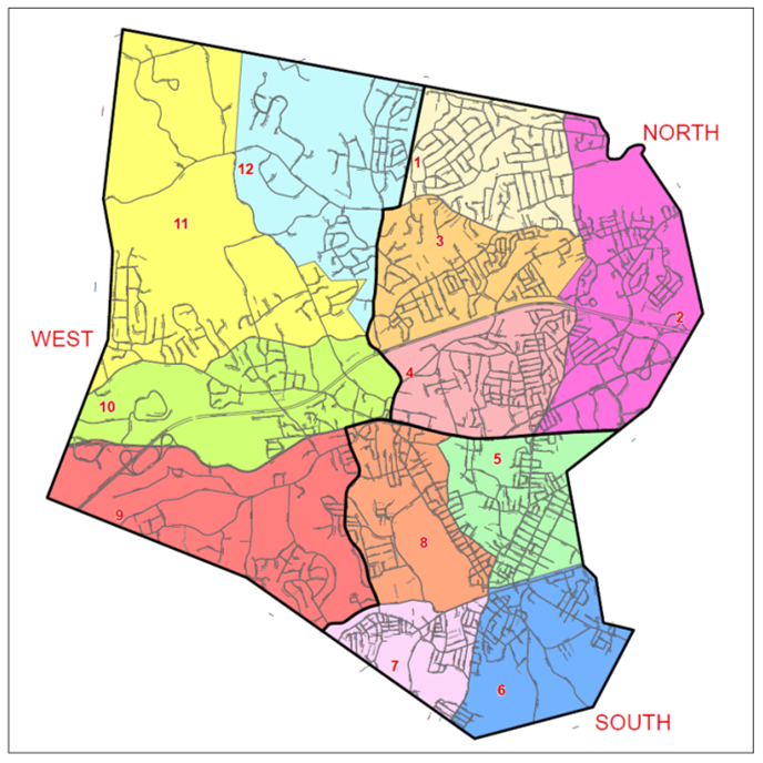 City of Framingham Map - 3 Geographic Areas: North, South, and West