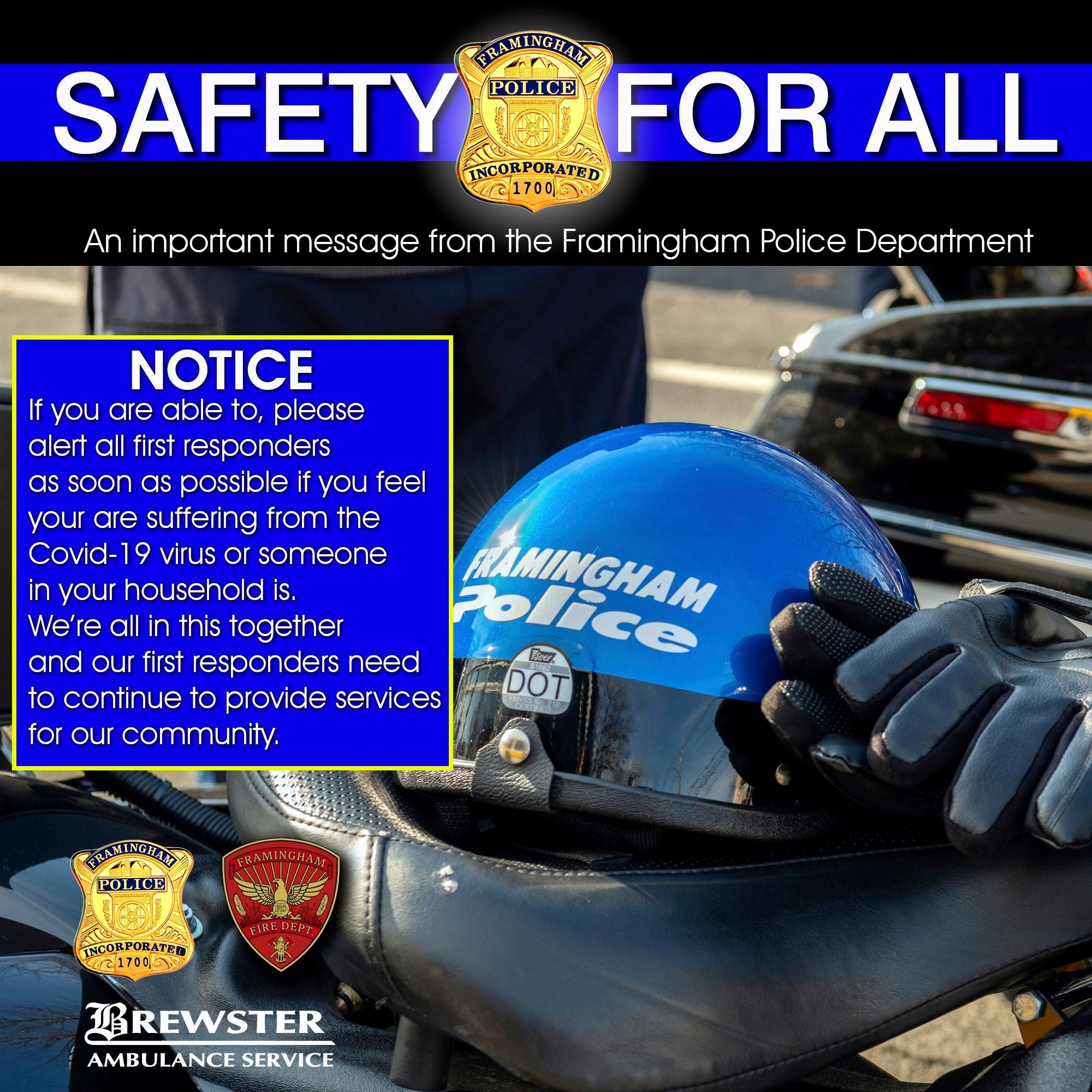 Graphic of Framingham Police Motorcycle with the following text: - Important message from the Framin