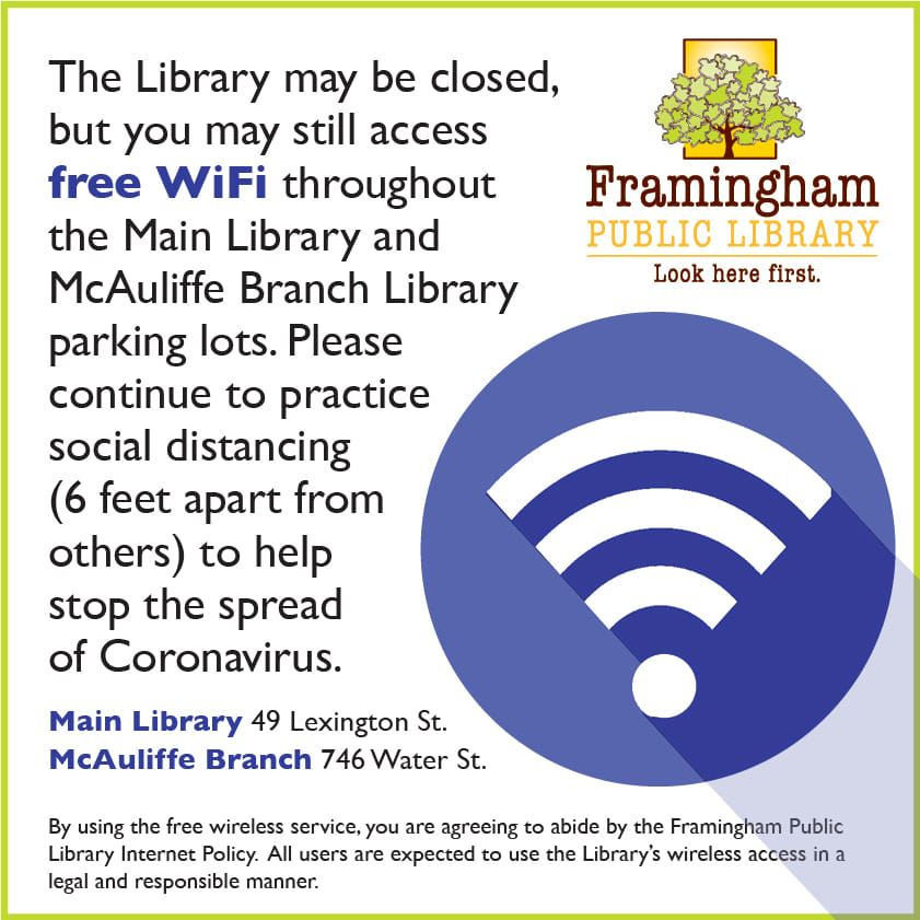 The Library is closed but you may still access free WiFi throughout the Main Library and McAuliffe B