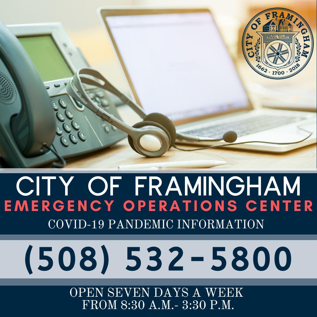 Graphic of computer, laptop and phone with the following text: City of Framingham Emergency Operatio