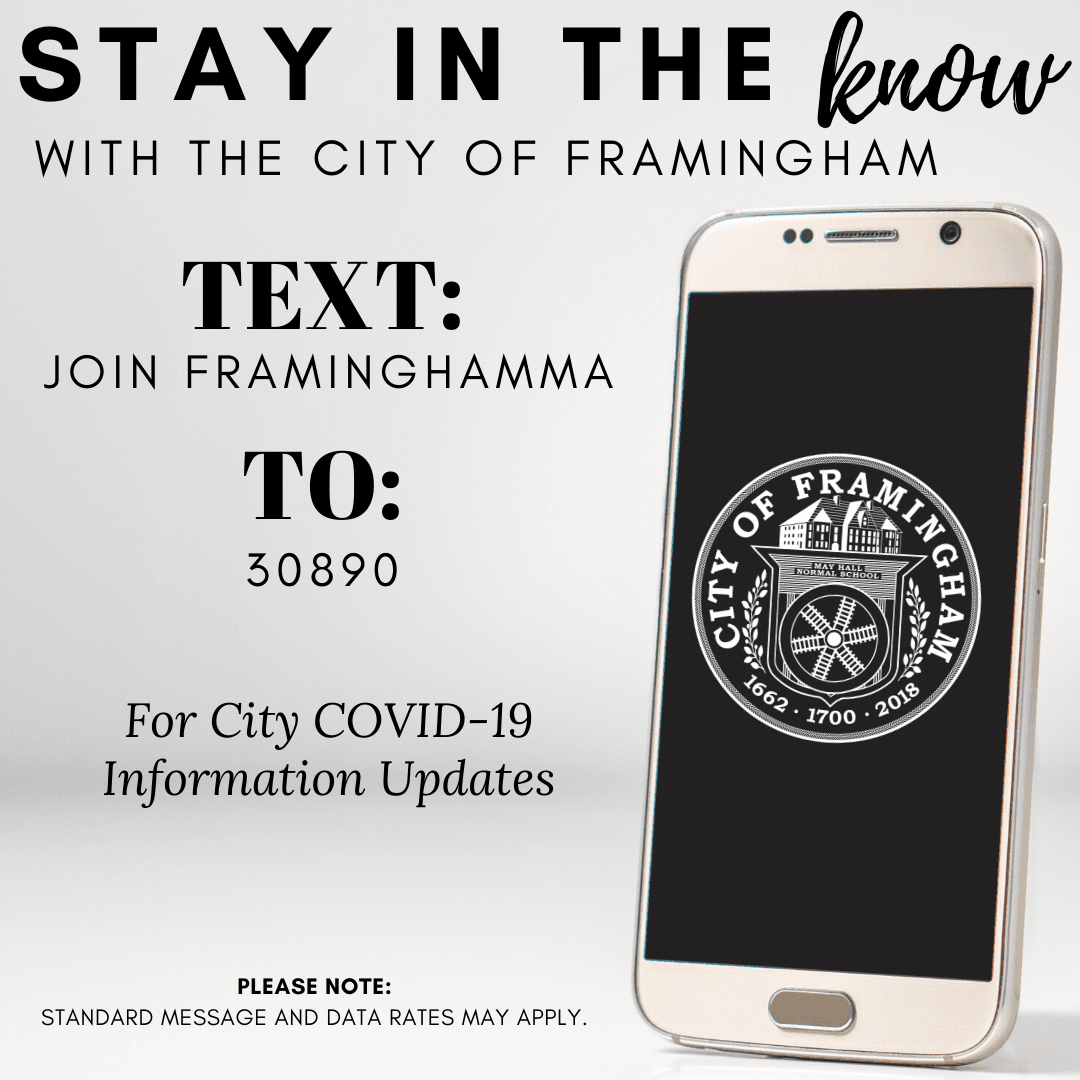 Graphic with the following words: Stay in the Know with the City of Framingham. Text: Join Framingha