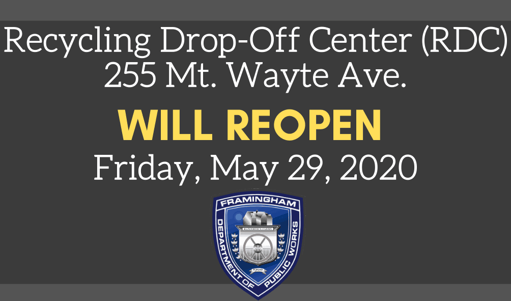 Recycling Drop-Off Center will reopen Friday, May 29, 2020