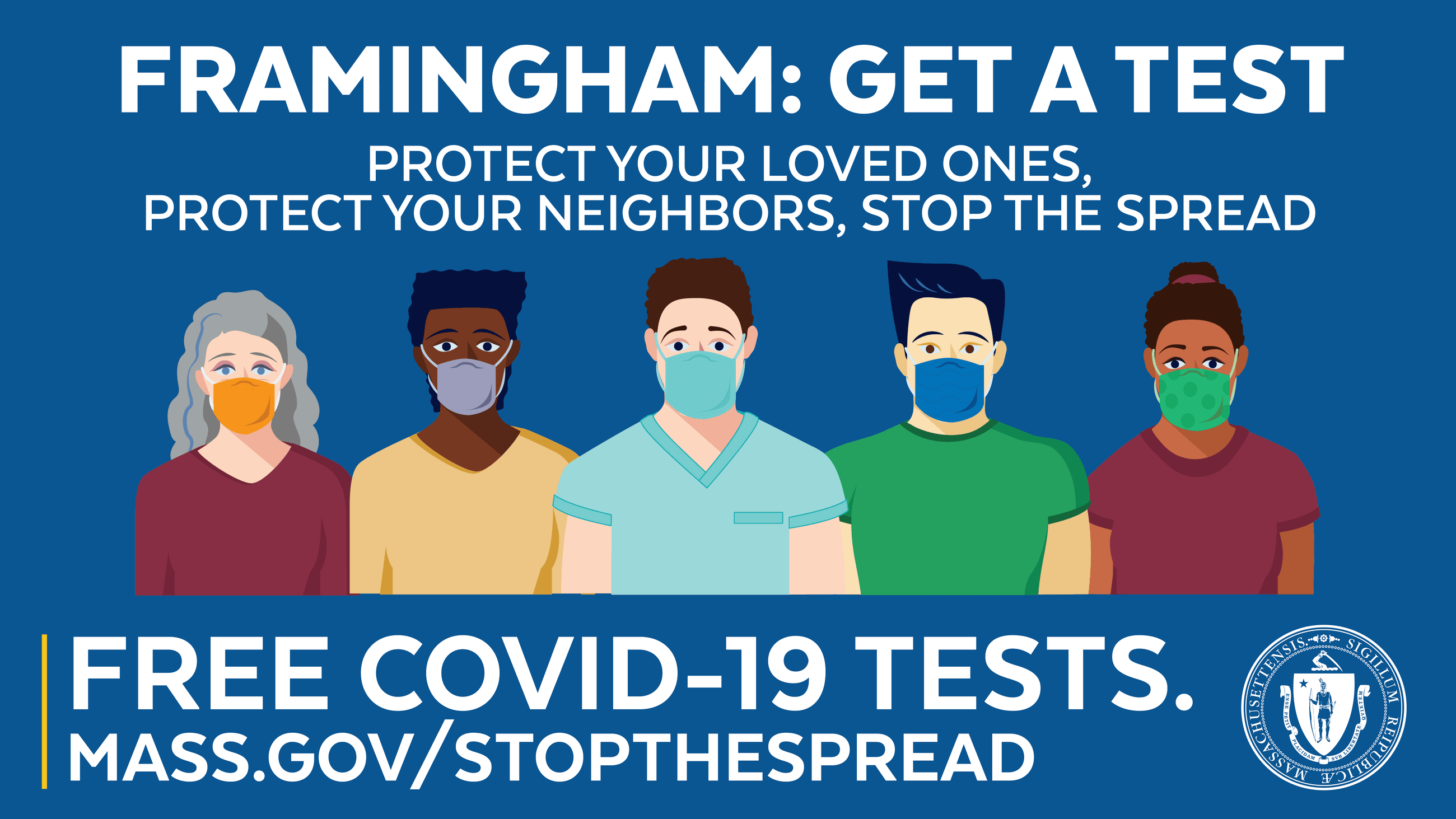 Photo of people wearing face coverings. Text: Framingham: Get a Test, Protect your loved ones