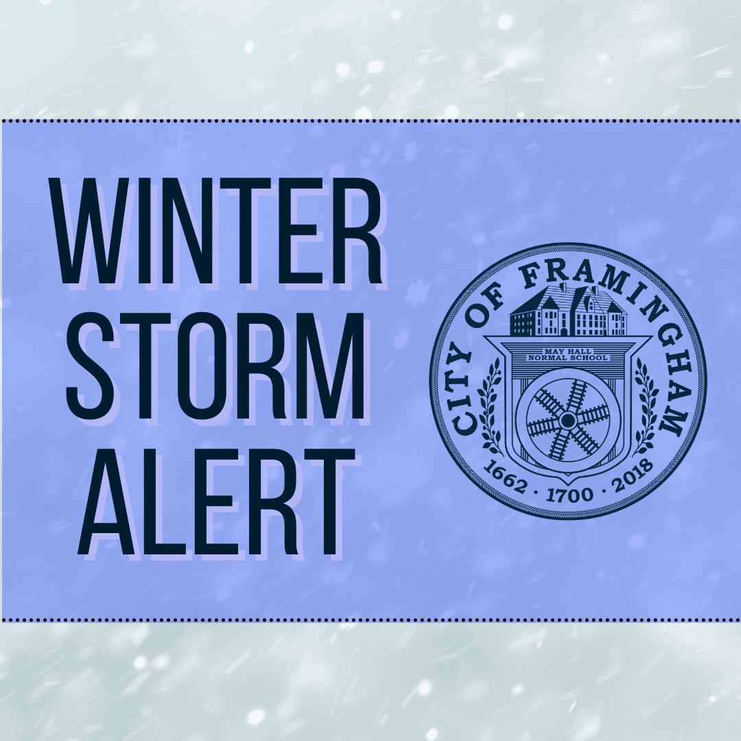 Graphic with snow and blue rectangle. Text in blue: Winter Storm Alert. Image of the City of Framing