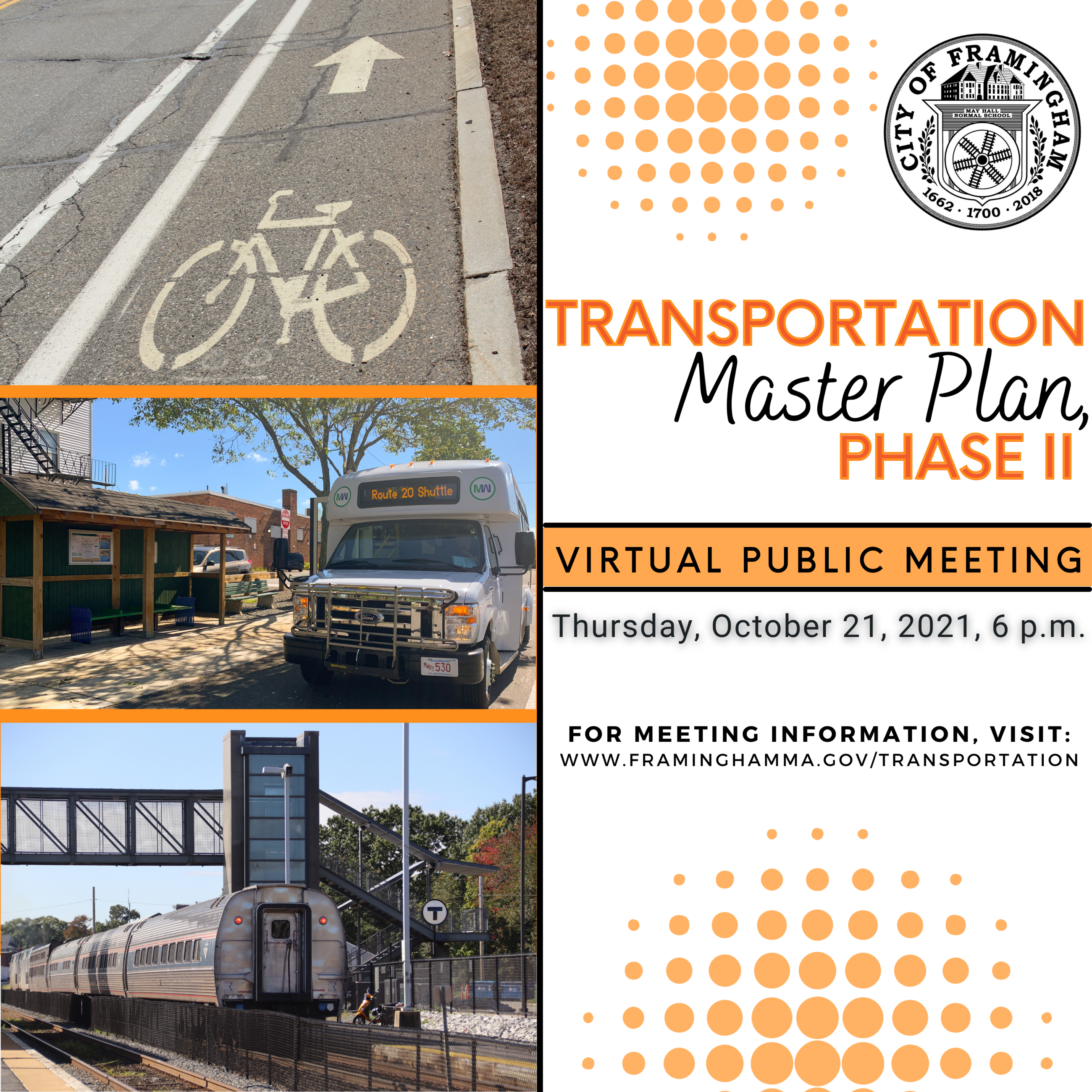 Graphic with Following Text: Transportation Master Plan, Phase II, Virtual Public Meeting, October 2