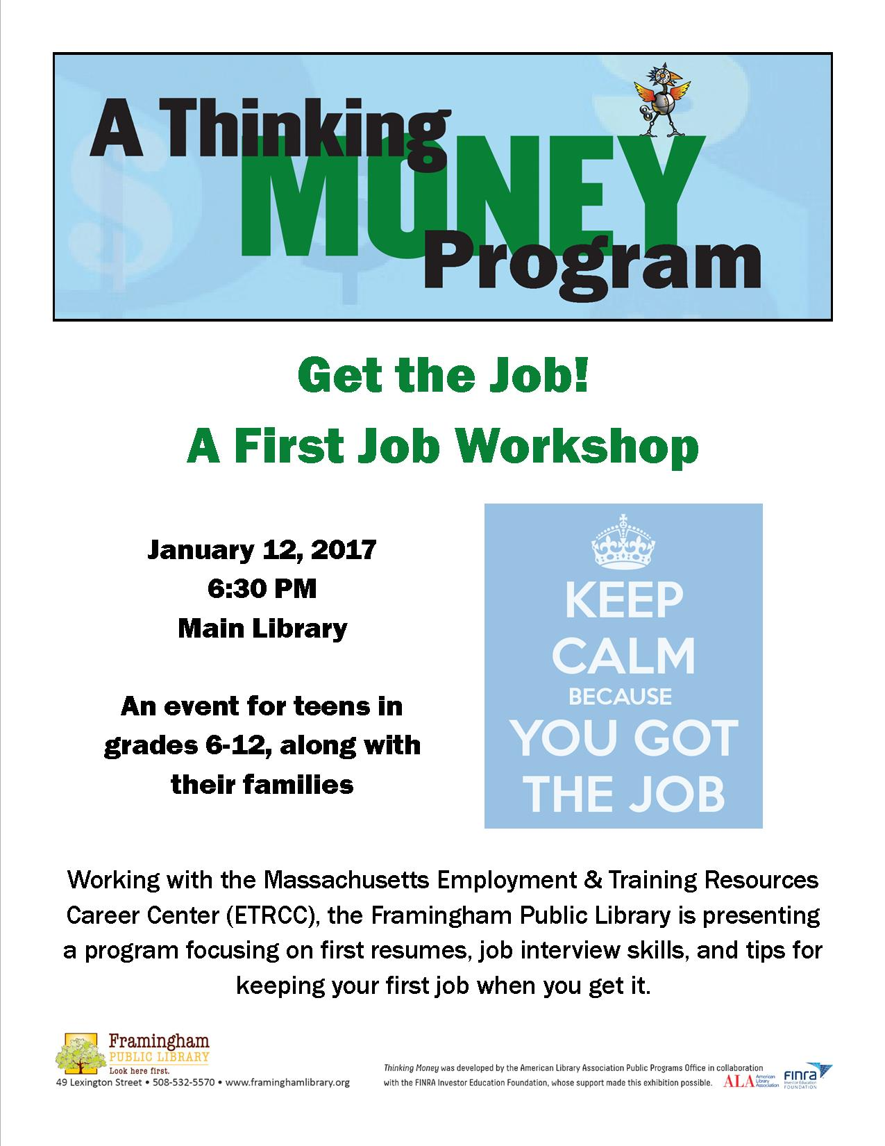 Thinking Money Job Workshop poster